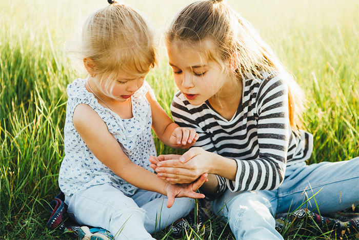 Children finding bugs in nature