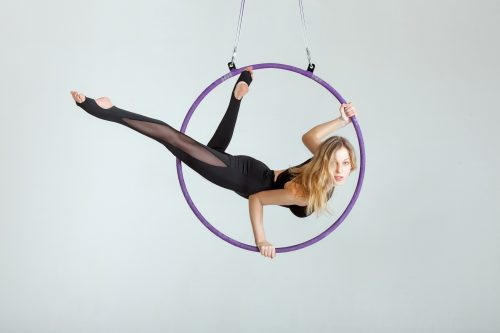 Girl in hoop balancing